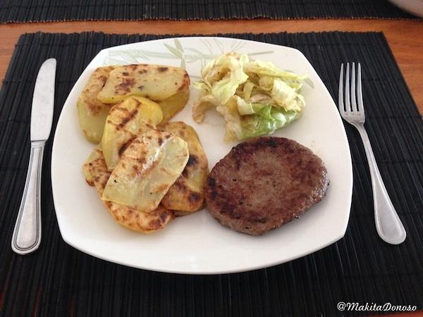 Receta f cil papas a la plancha con hamburguesa - Plancha para hamburguesas ...